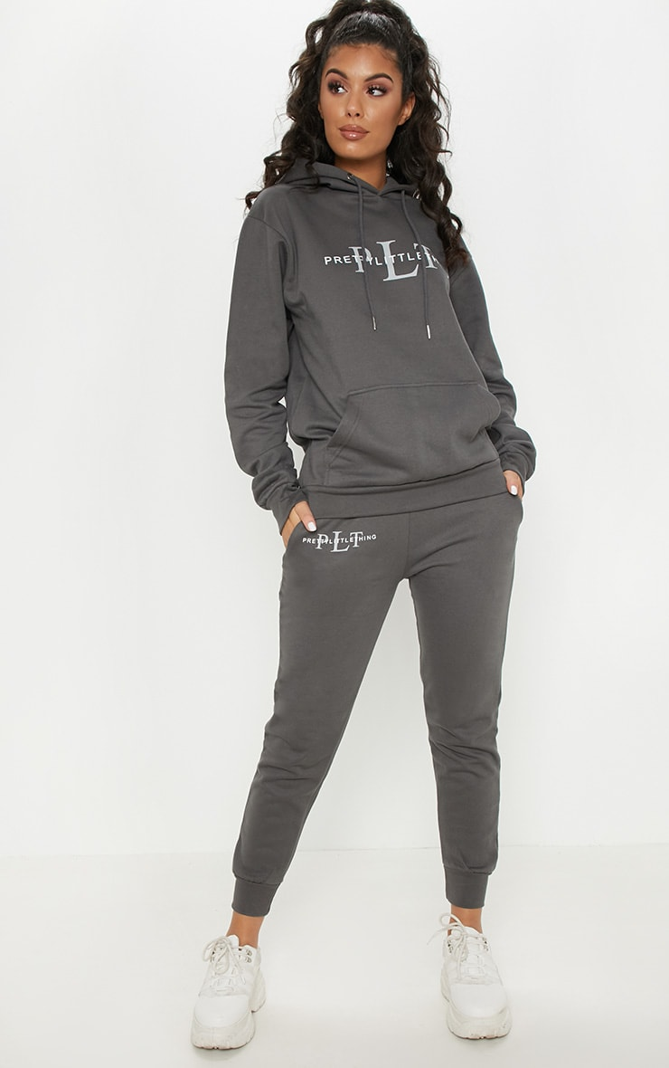 PRETTYLITTLETHING Charcoal Printed Joggers 1