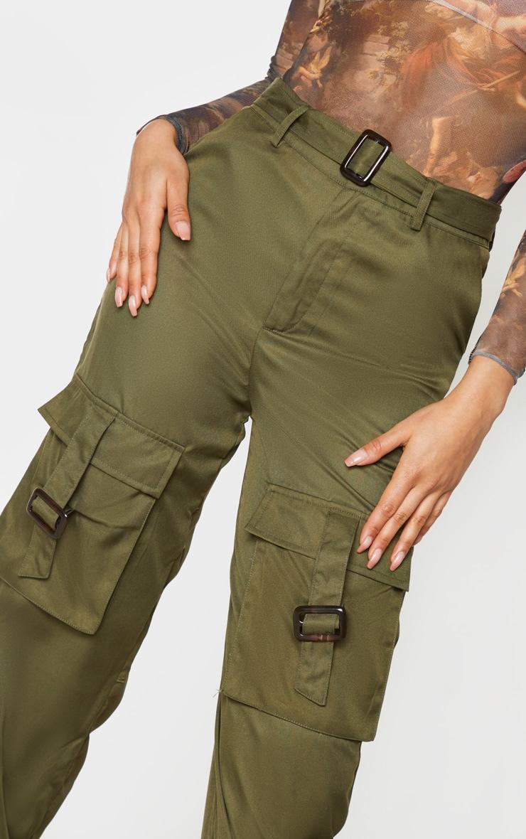 Tall Khaki Cargo Pocket Detail Buckle Pants 4