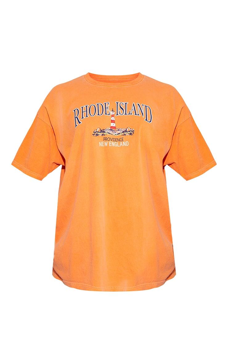 Orange Rhode Island Washed Printed T Shirt 5