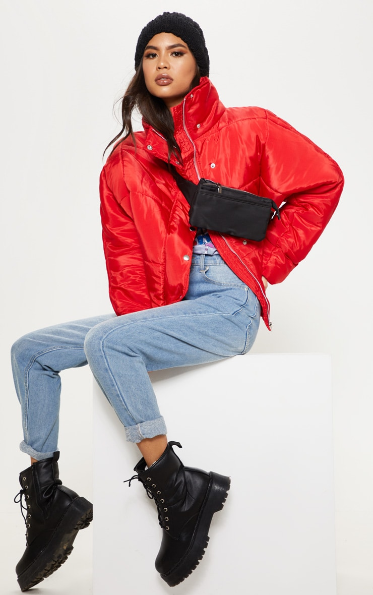 Red Oversized Funnel Neck Puffer 1