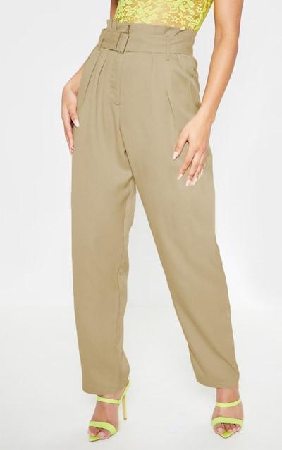 Khaki Paperbag Belted Waist Wide Leg Trouser