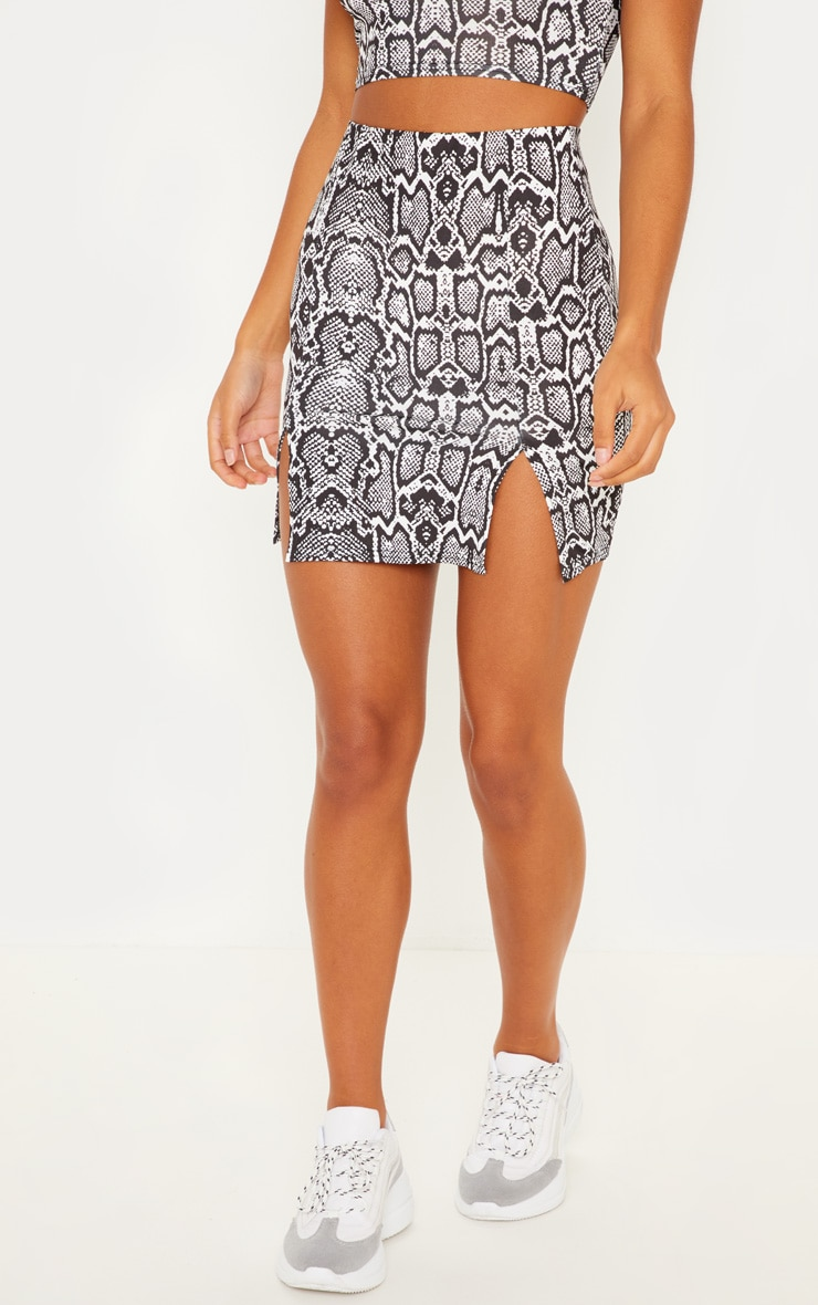 Monochrome Slinky Snake Print Double Split Mini Skirt 2