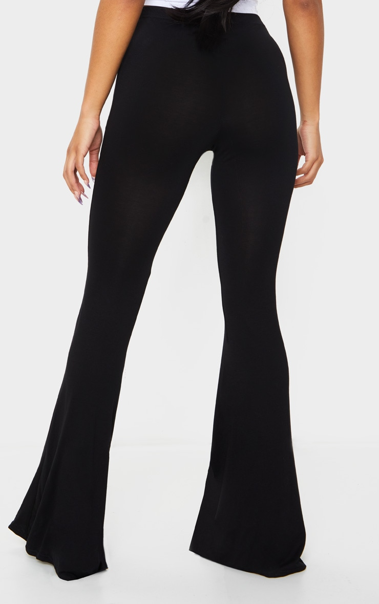 Black Jersey Flared Trousers 3