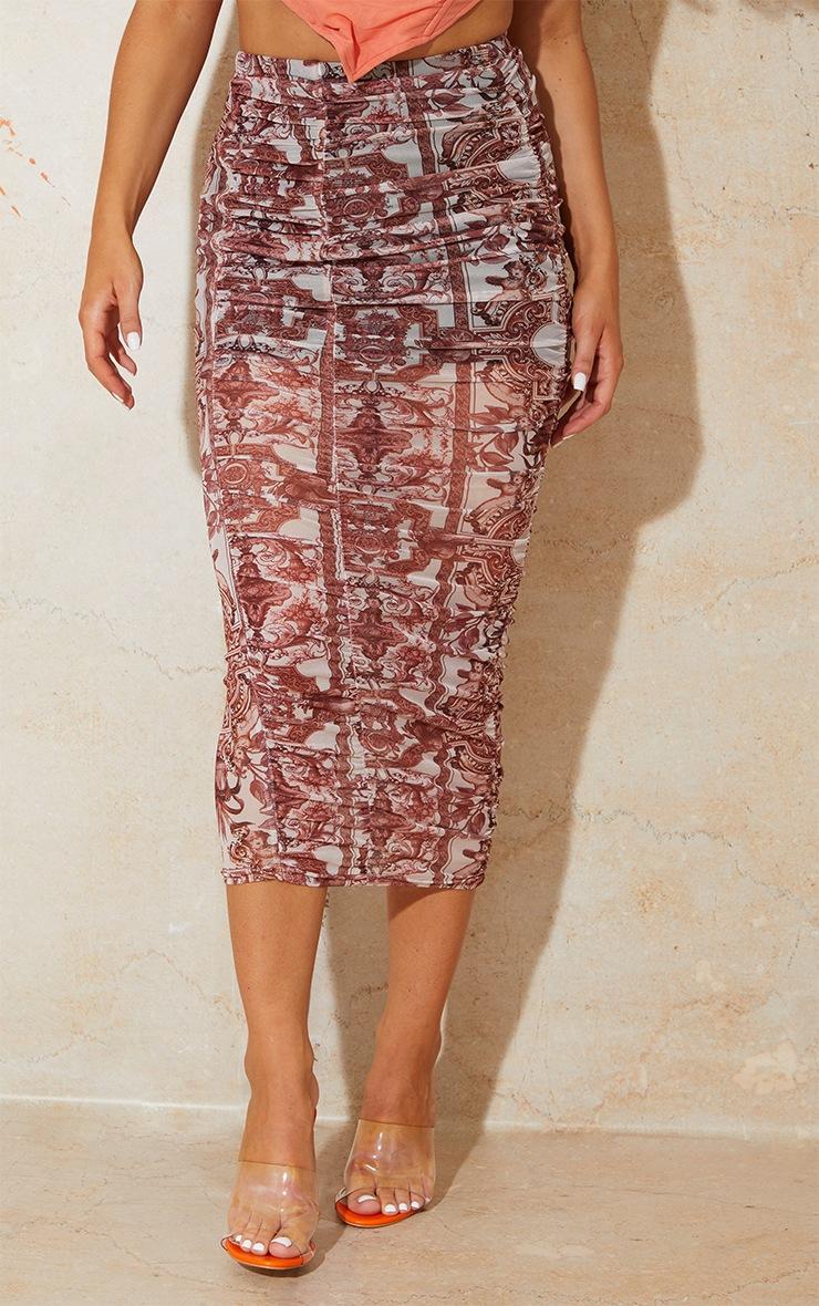 Renaissance Print Mesh Ruched Overlay Maxi Skirt 2