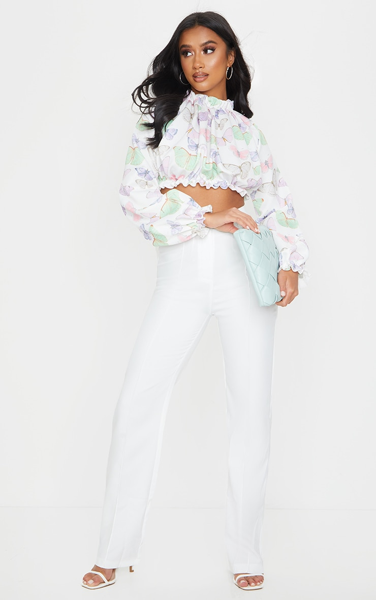 Petite White Butterfly Print Long Sleeve Ruffle Crepe Blouse 3