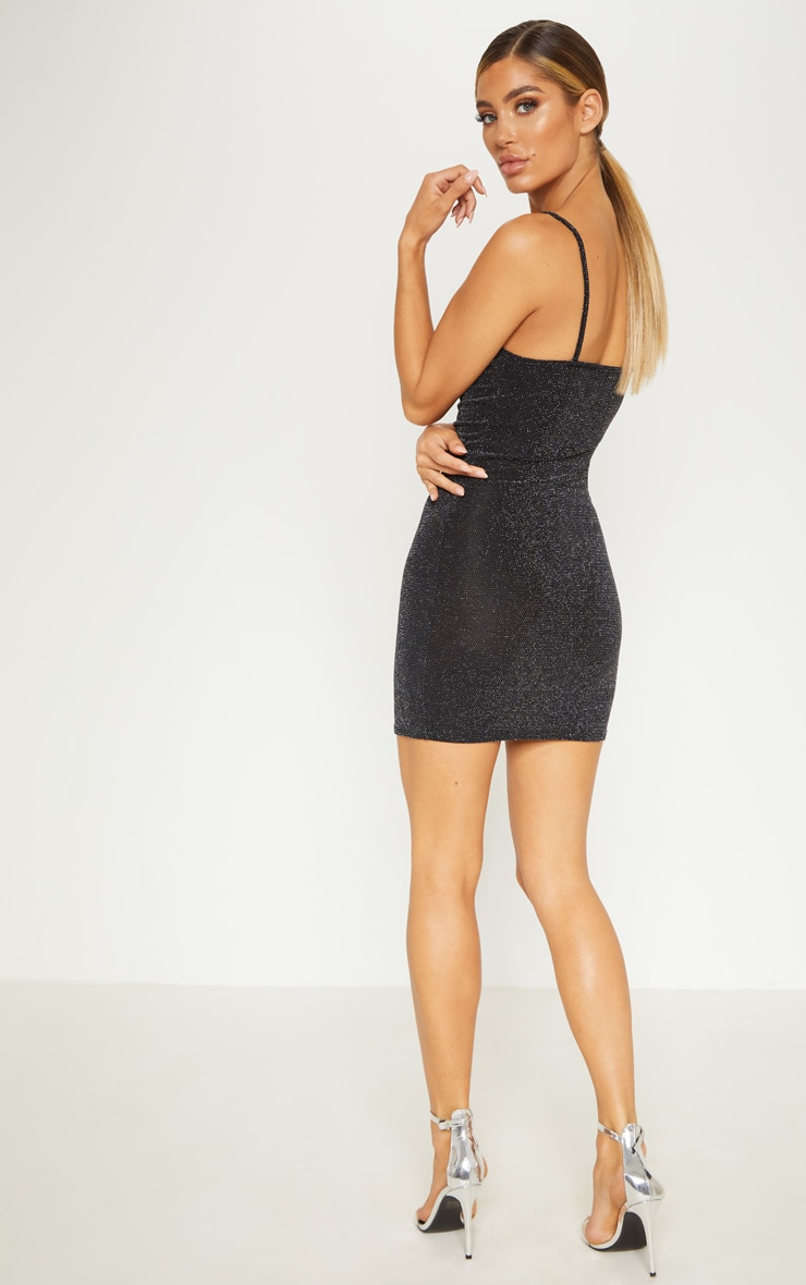 Black Strappy Textured Glitter Bodycon Dress 2