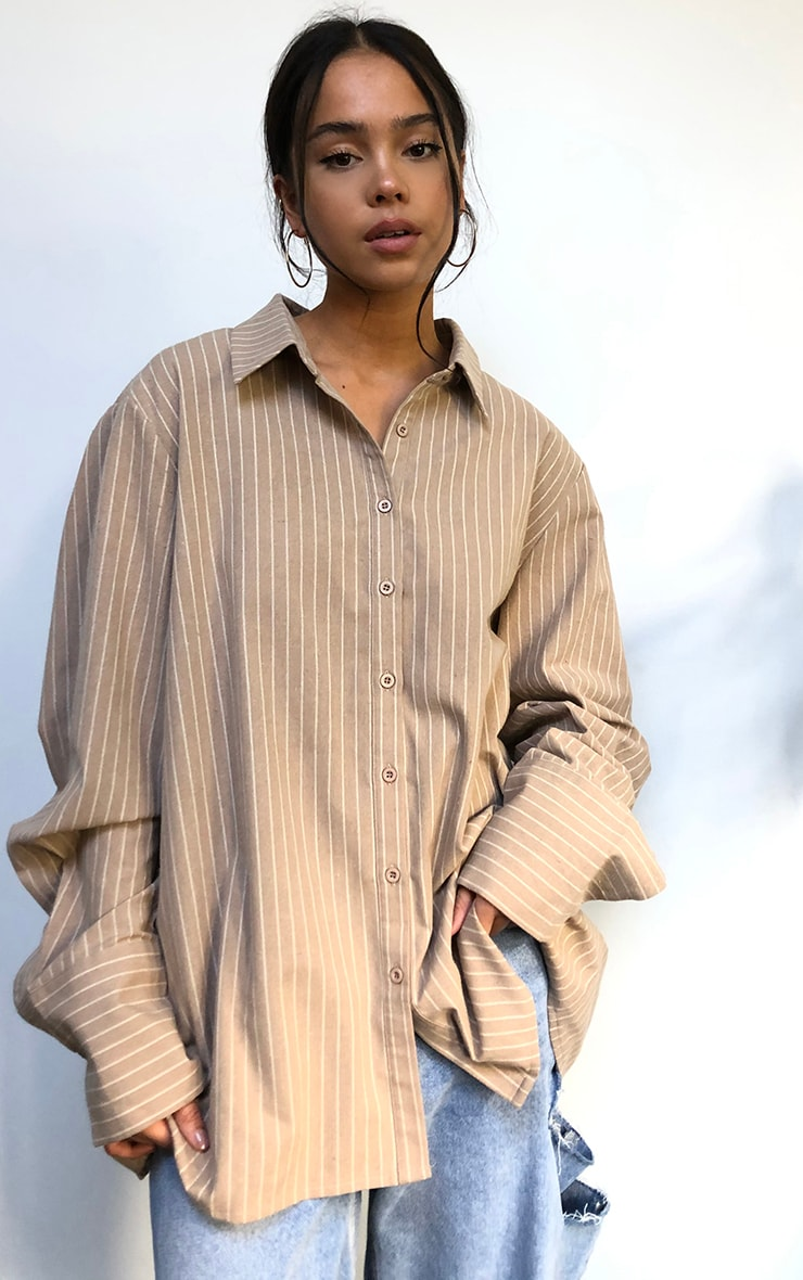 Beige Oversized Pinstripe Cuff Shirt 6