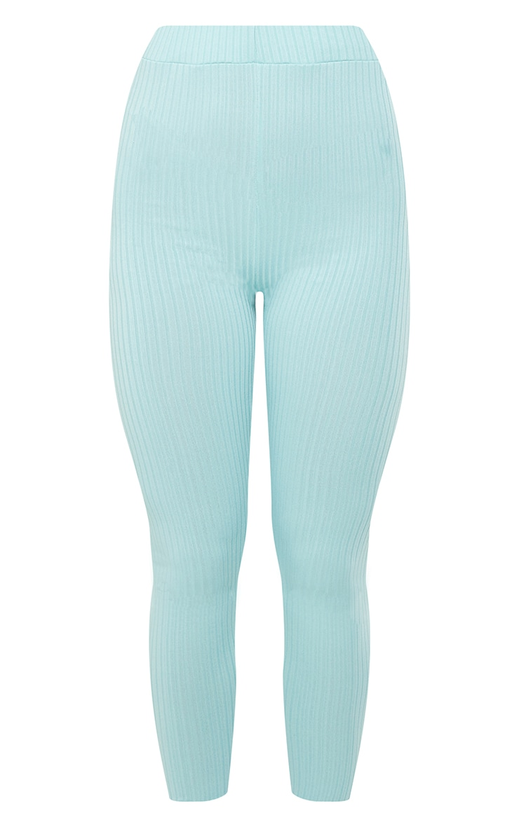 Washed Green Ribbed High Waisted Leggings 5