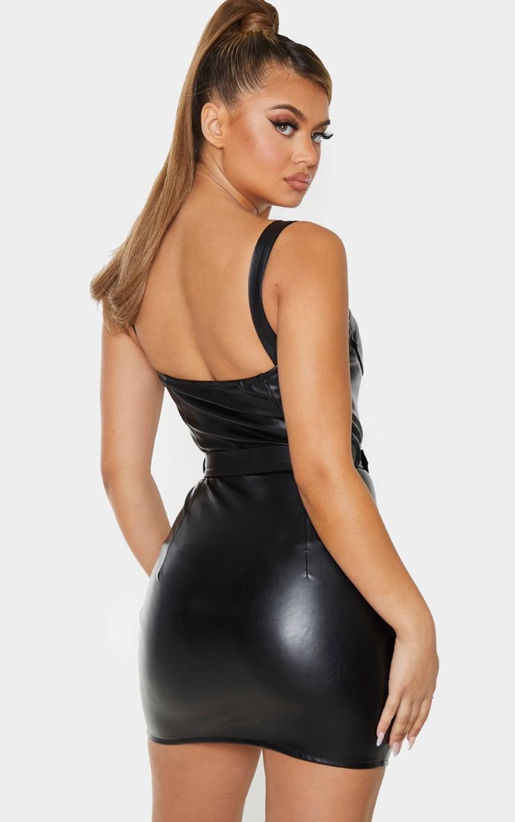 Black Faux Leather Gold Buckle Zip Detail Bodycon Dress 2