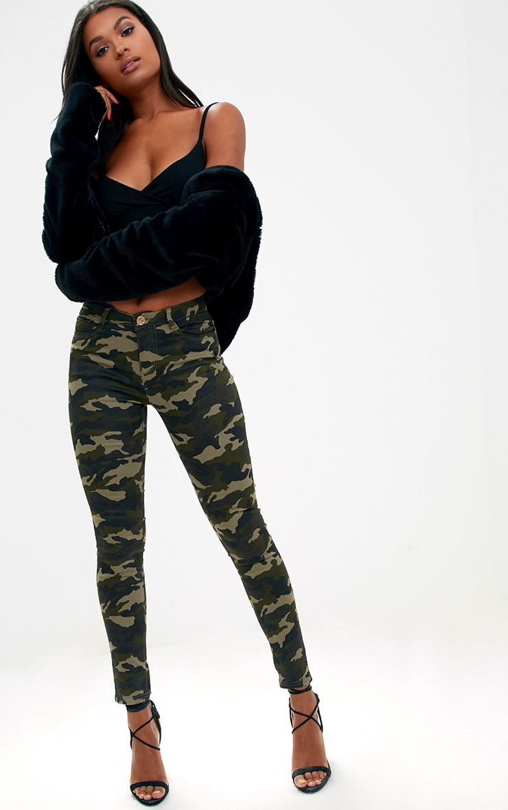 Khaki Camouflage Skinny Jeans 1