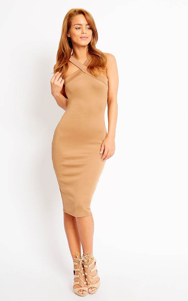 Melanie Camel Cross Front Midi Dress 1