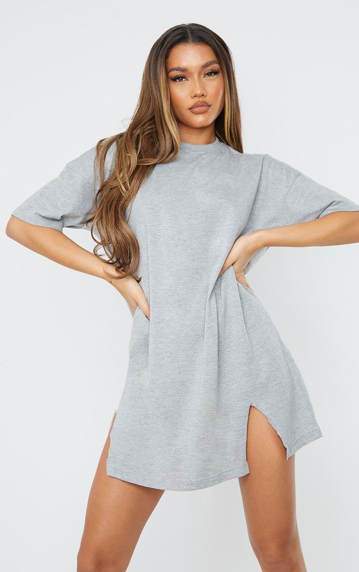 Grey Double Raw Edge Split Hem T Shirt Dress 3