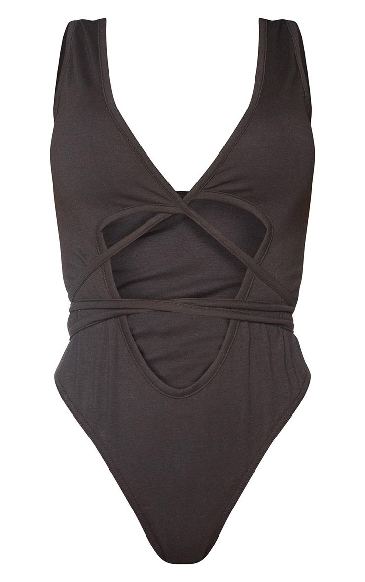Shape Black Cotton Plunge Wrap Detail Bodysuit 5