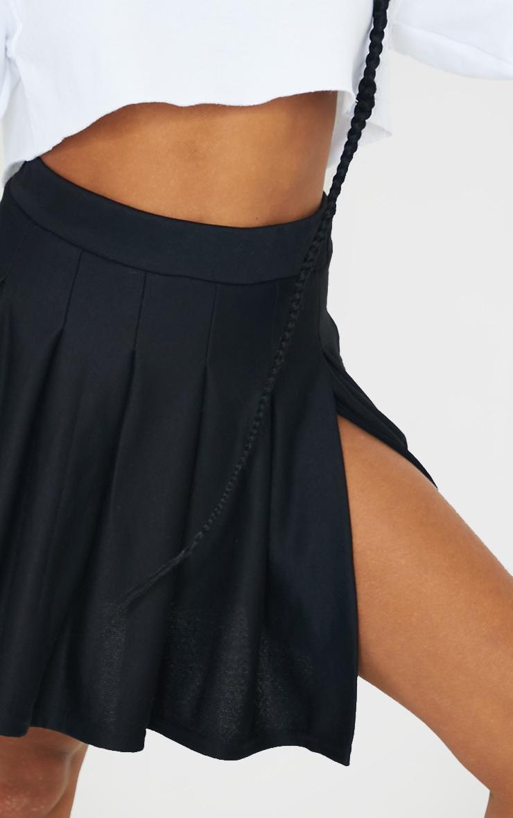 Jupe patineuse plissée noire en sweat  4