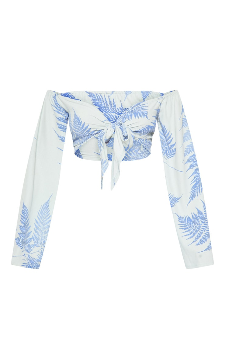 Baby Blue Leaf Print Bardot Tie Front Crop Top 3