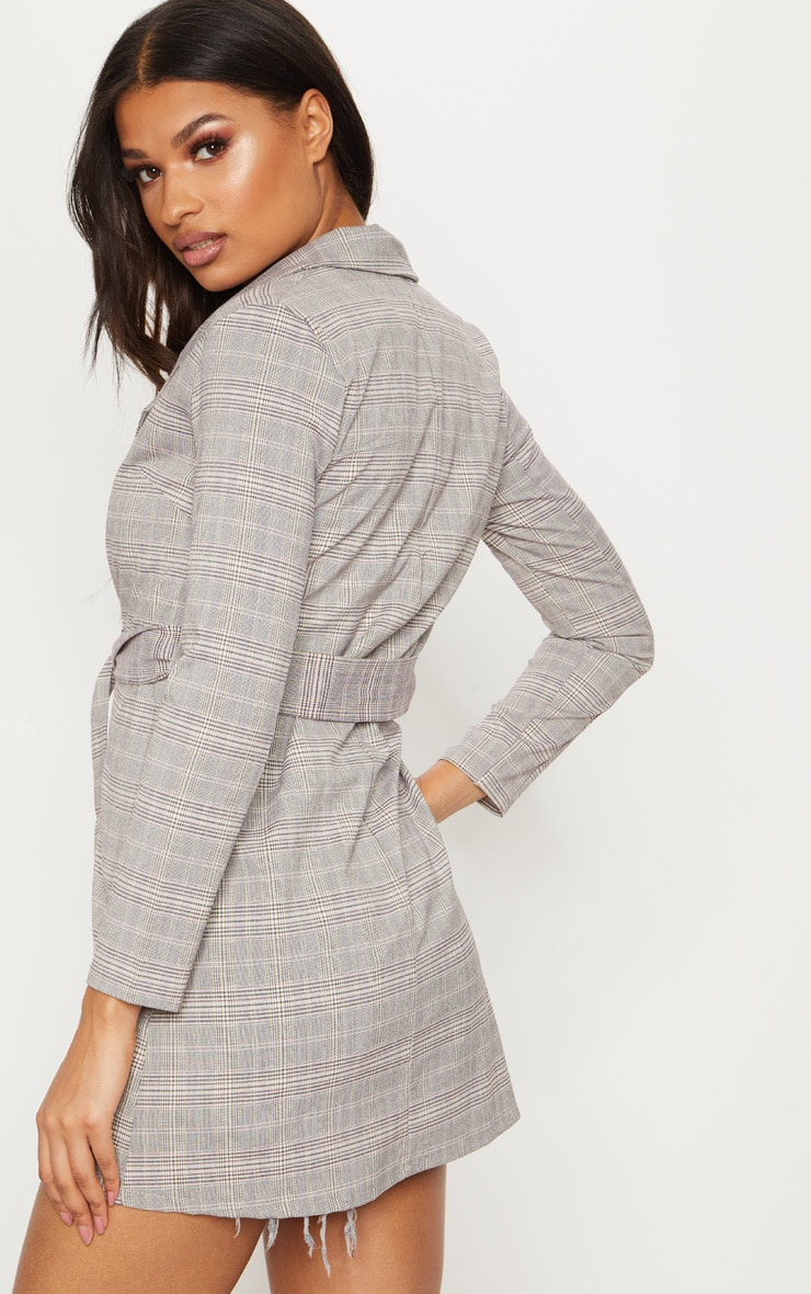 Grey Checked Oversized  Blazer  2
