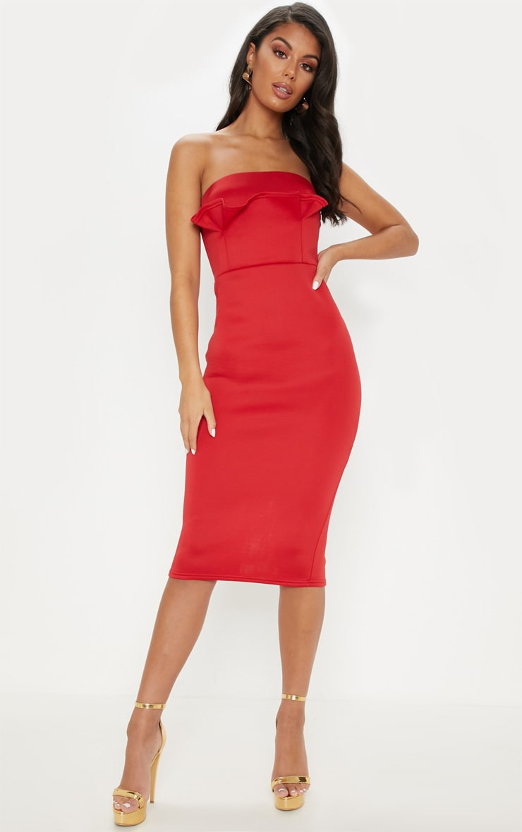 Red Bonded Scuba Bandeau Ruffle Detail Midi Dress