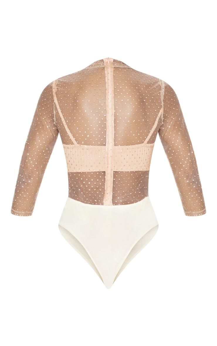Gold Glitter Mesh Long Sleeve Bodysuit 4