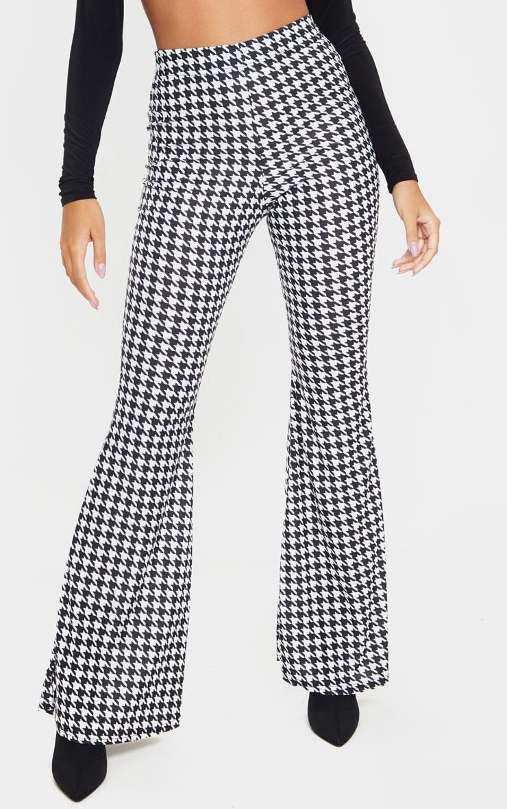 Black Dogtooth Flared Trousers 2