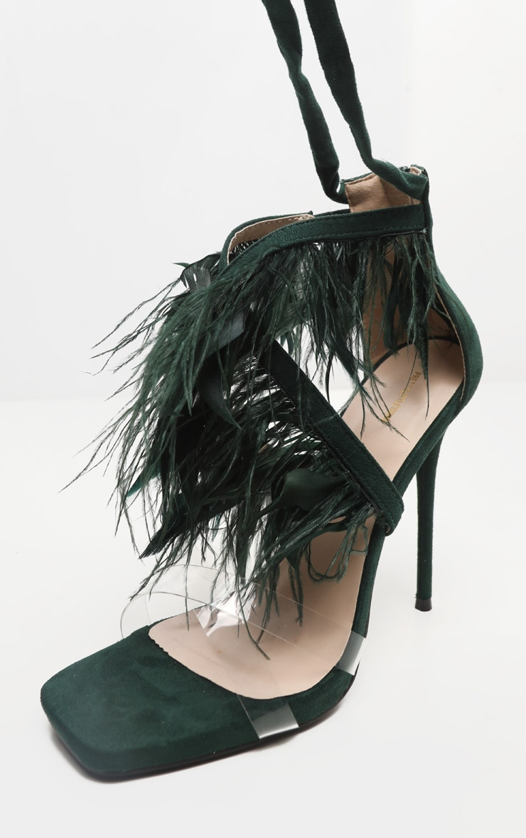 Emerald Square Toe Asymmetric Strap Feather Sandal 5