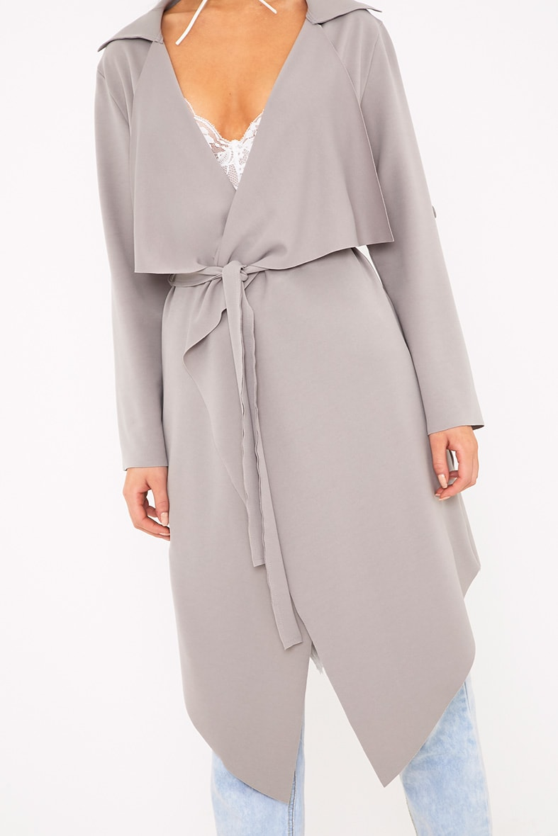 Annalie Grey Belted Waterfall Coat 4