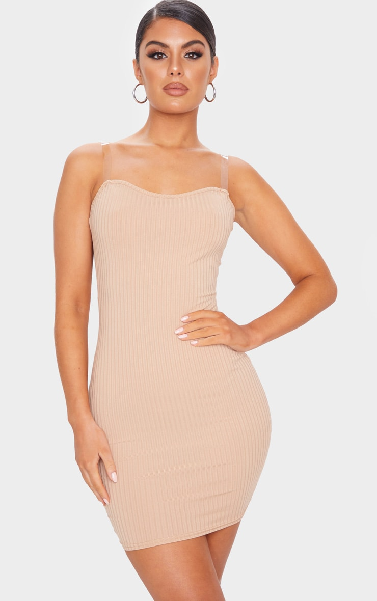 Stone Clear Strap Ribbed Scoop Back Bodycon Dress 1