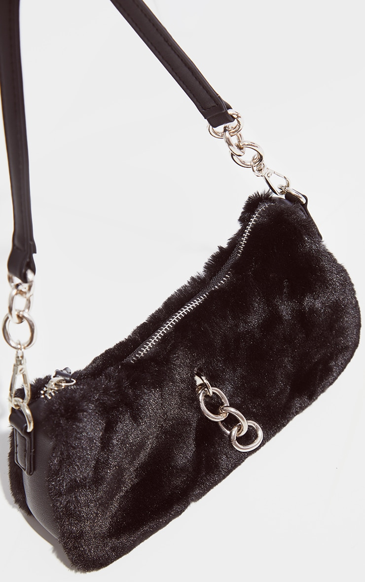 Black Faux Fur Silver Chain Shoulder Bag 3