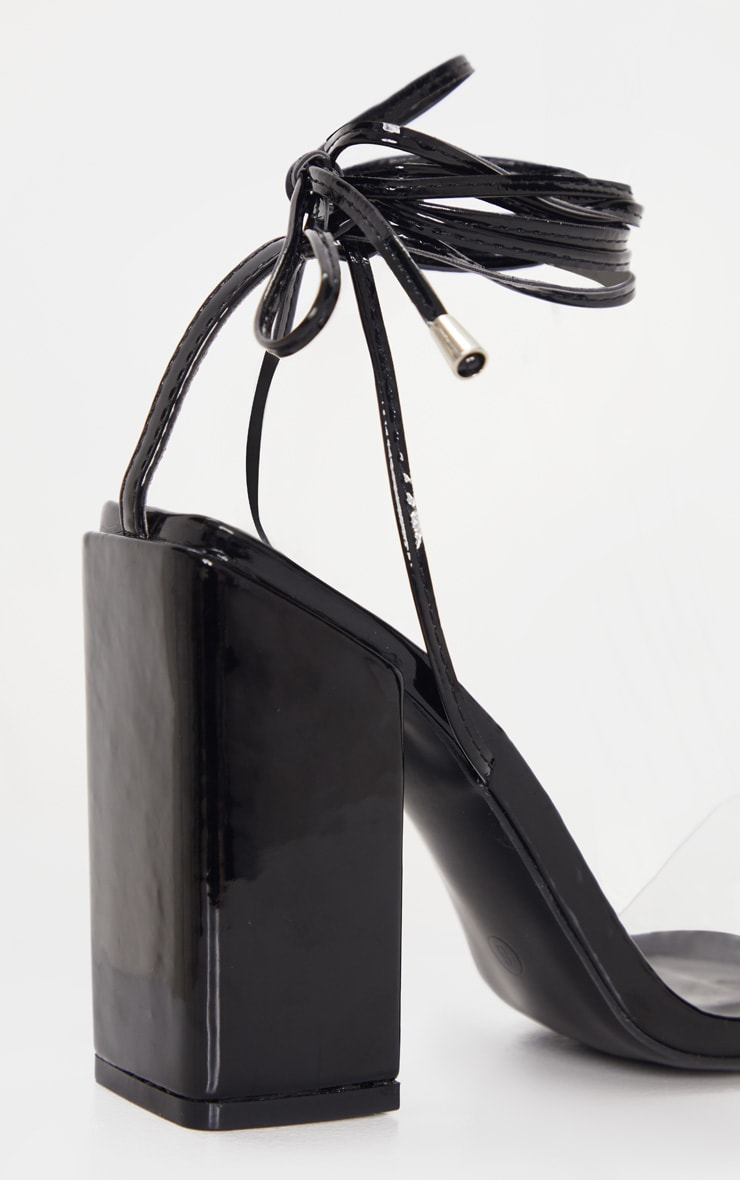Black Wide Fit Block Heel Ankle Tie Strappy Sandal 4