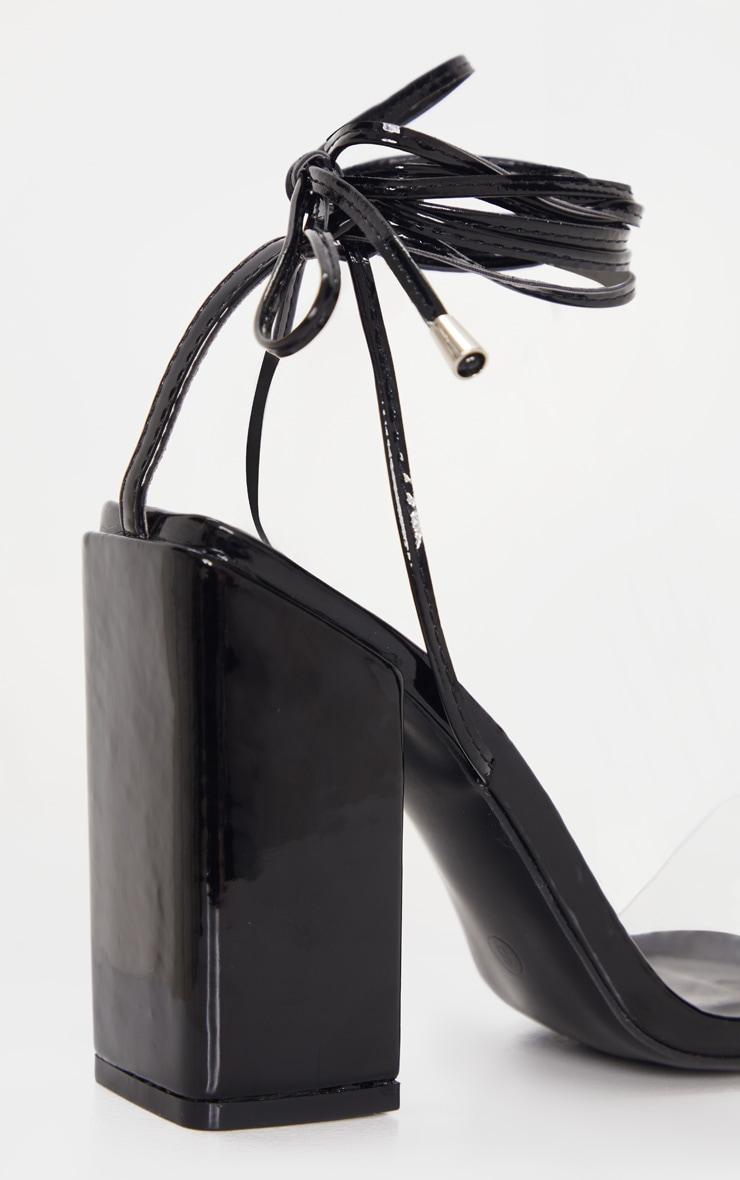 Sandales noires pointure large à talon bloc et lacets cheville  5