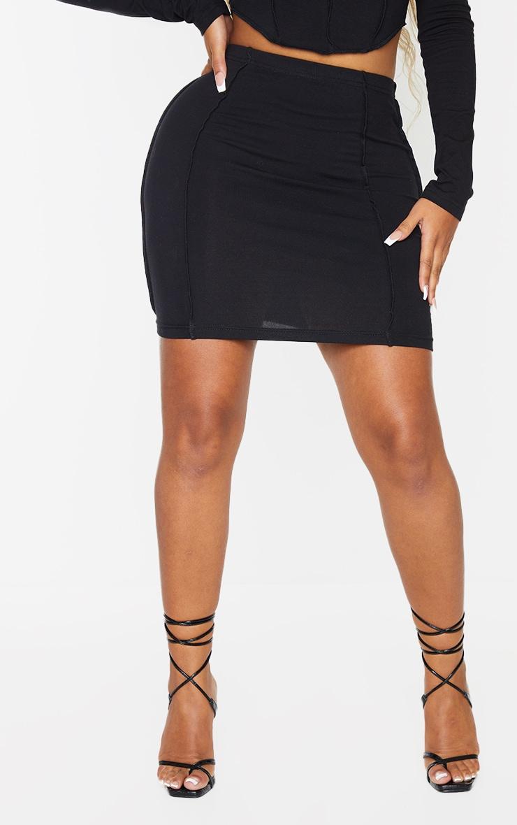 Recycled Shape Black Cotton Overlock Detail Bodycon Skirt 2