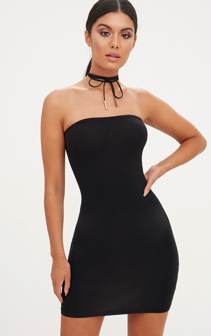 Black Strapless Fitted Mini Dress