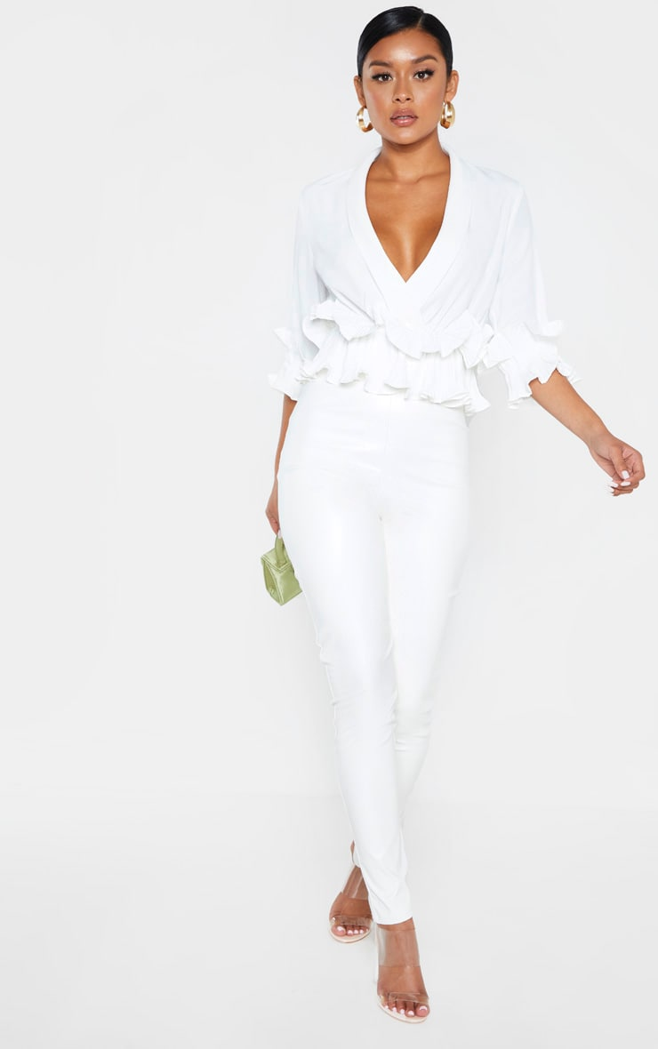 White Frill Detail Pleated Blouse 4