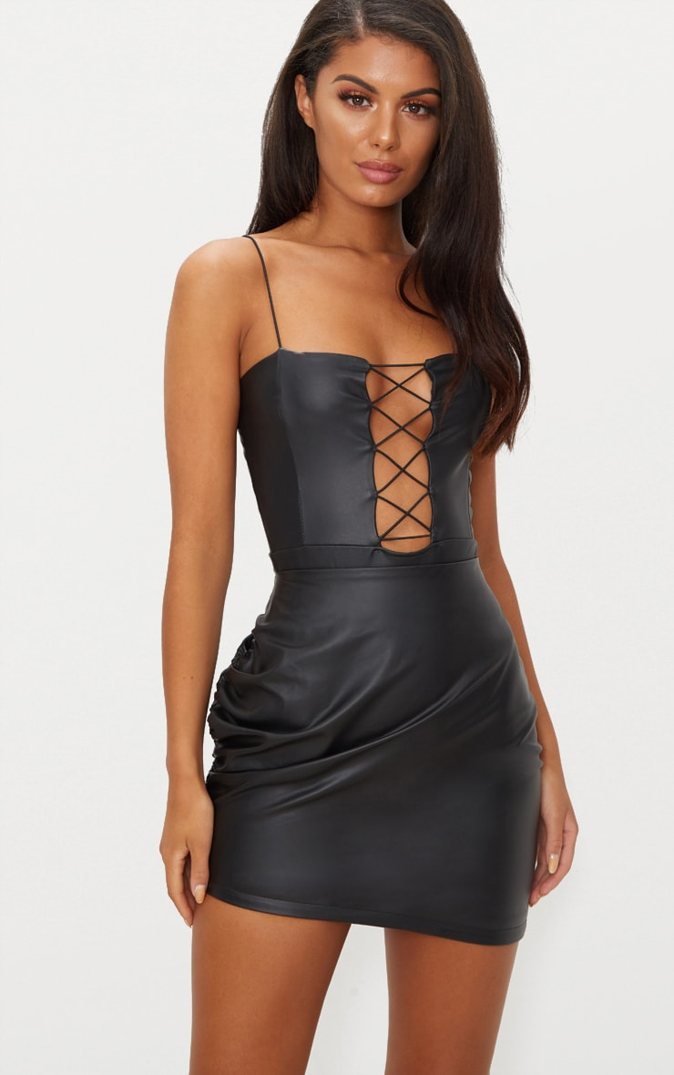 Black Strappy Lace Up PU Thong Bodysuit  2