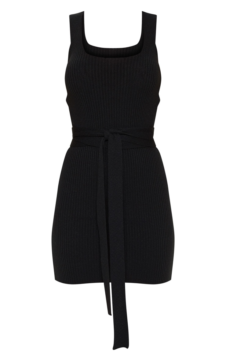 Black Knitted Tie Detail Bodycon Dress 3