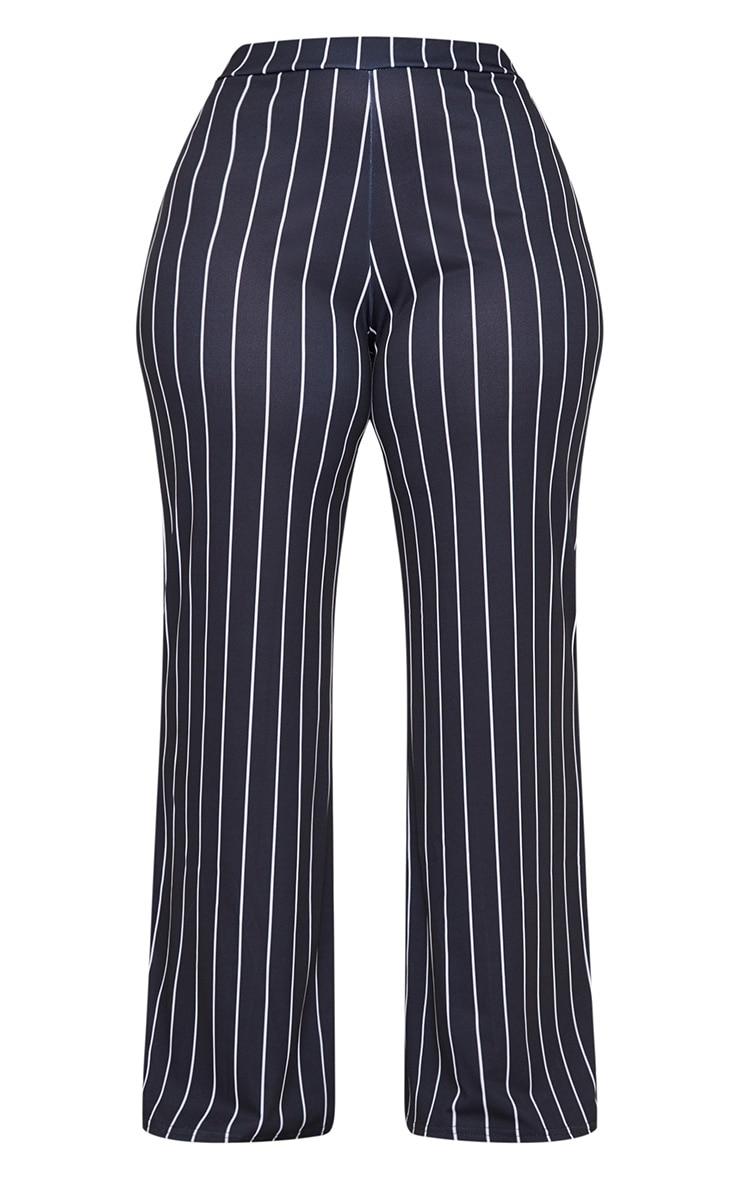 Plus Black Stripe Wide Leg Trousers  3