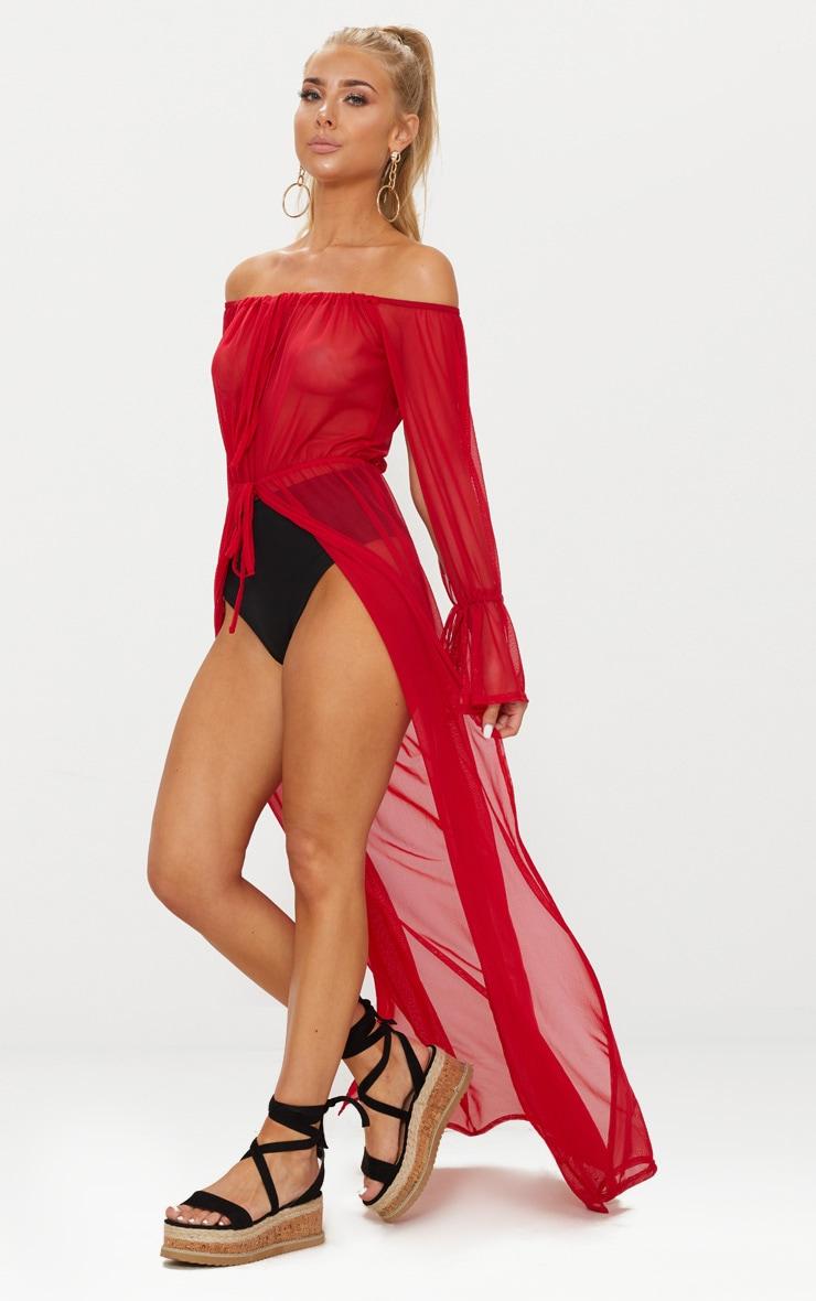 Red Off Shoulder Tie Cuff Beach Dress 4