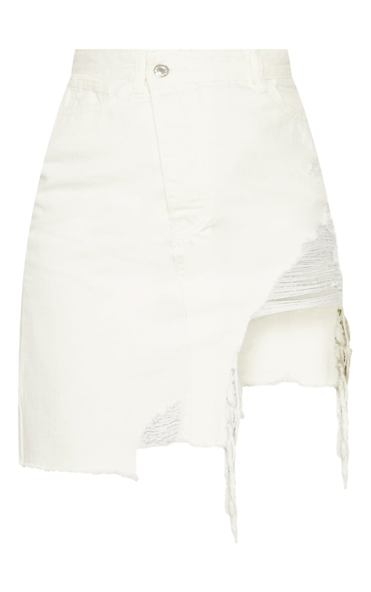 Ecru Heavy Distressed Denim Skirt  3