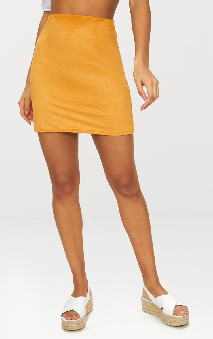 Mustard Faux Suede Skirt 2