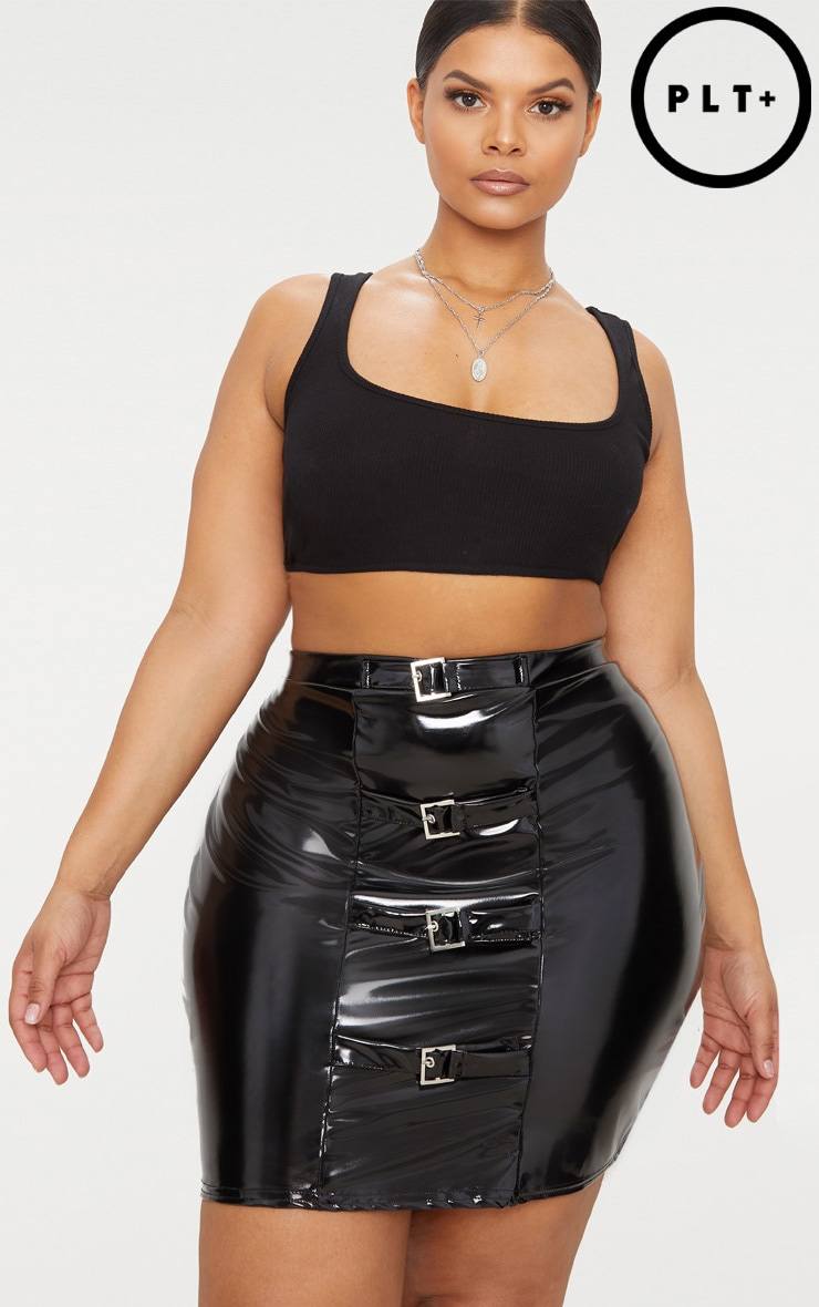 Plus Black Vinyl Buckle Detail Bodycon Skirt 1