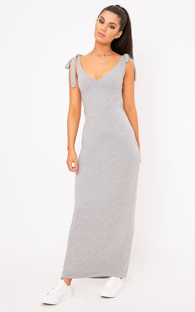Grey Marl Jersey Tie Sleeve Maxi Dress 1