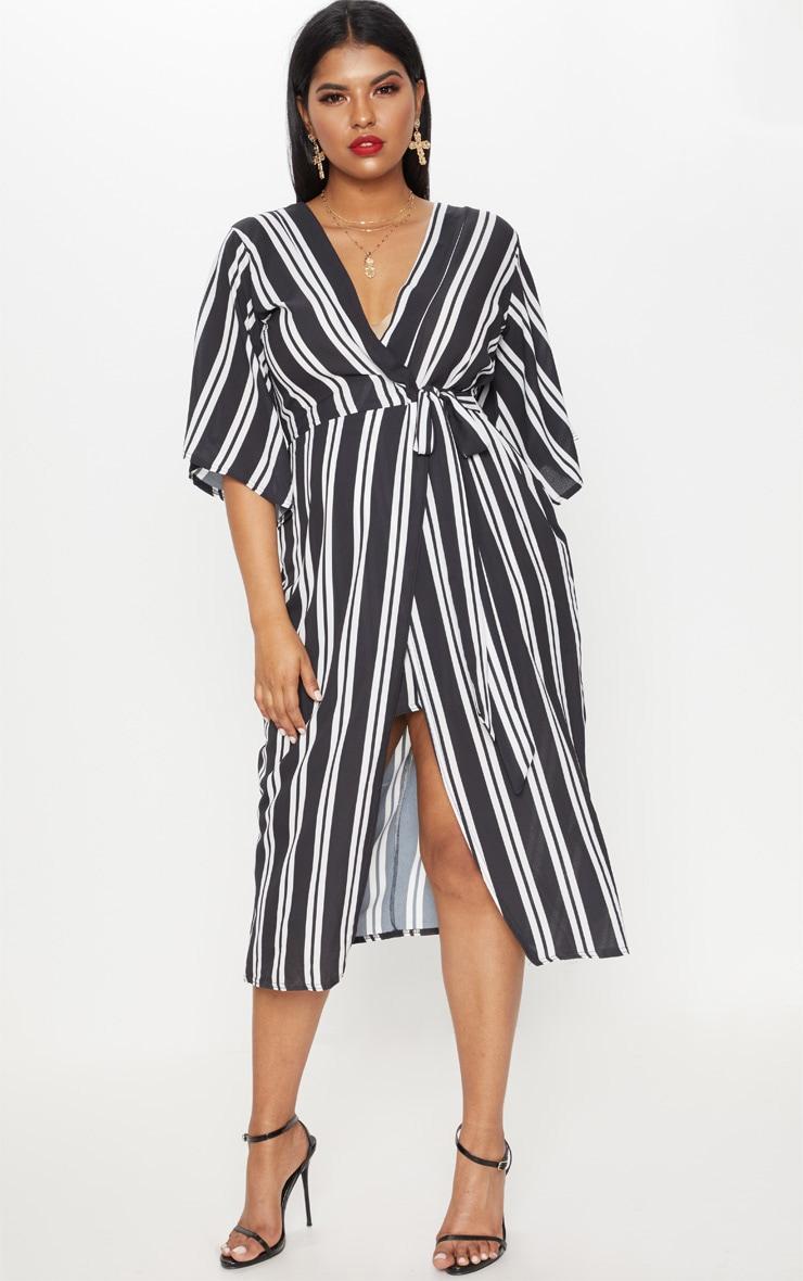 Plus Black Striped Kimono Midi Dress 1