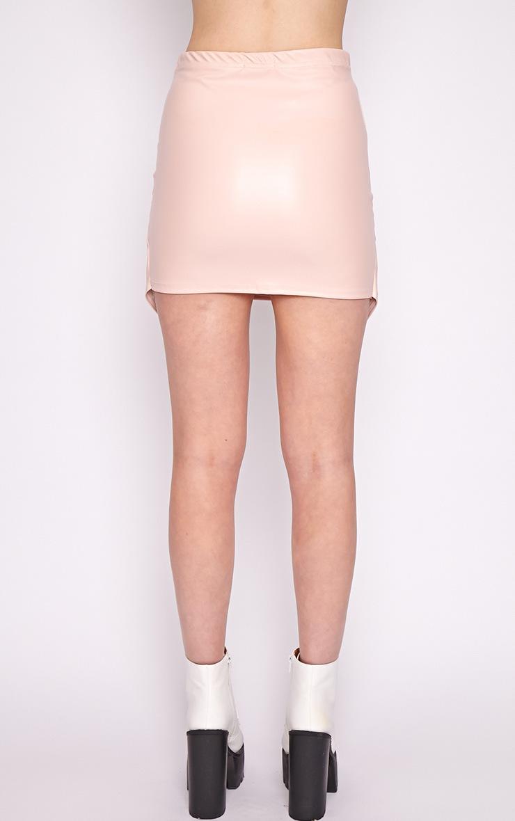 Valerie Pink Asymmetrical Leather Skirt 2