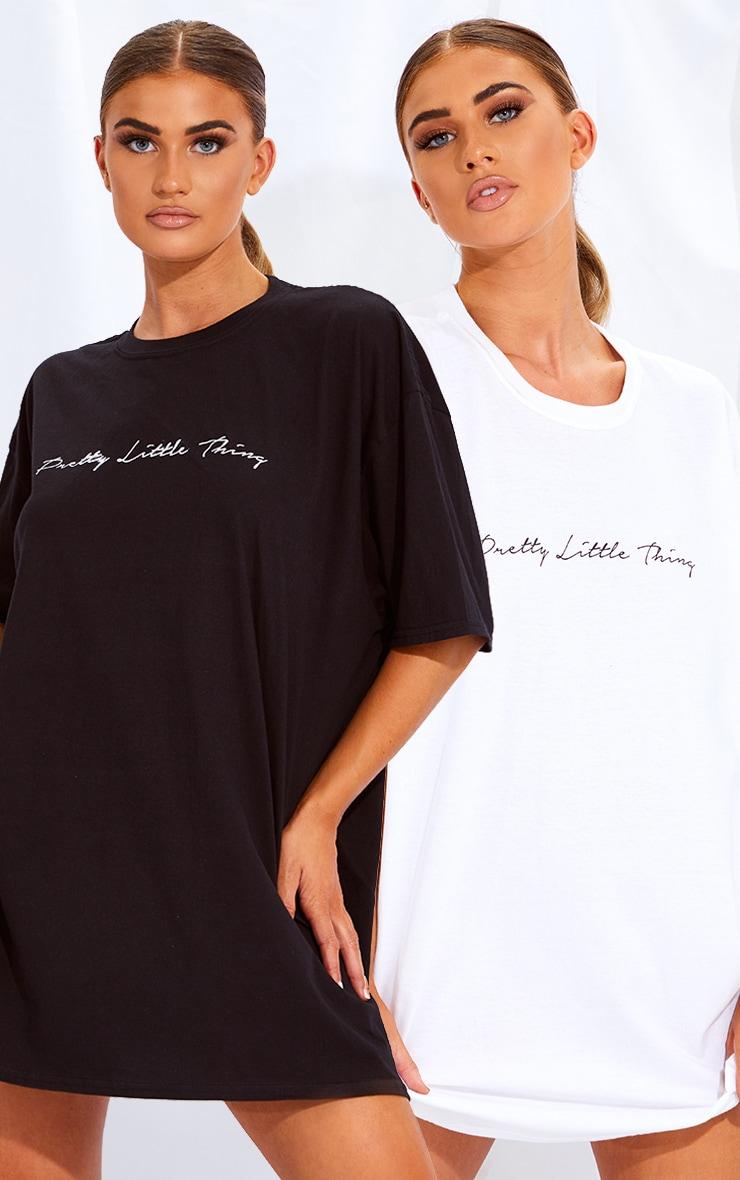 PRETTYLITTLETHING Black & White 2 Pack Slogan T Shirt Dresses 1