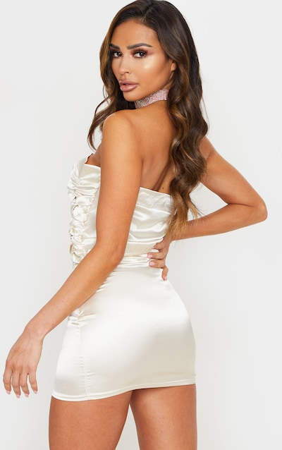 Champagne Satin Ruched Panelled Bandeau Top