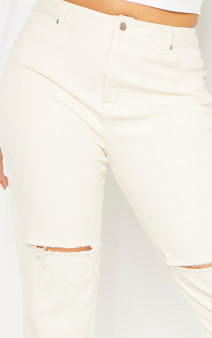 Plus Ecru Fray Hem Ripped Jean 5