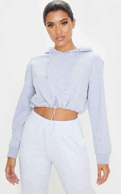 Grey Toggle Crop Hoodie