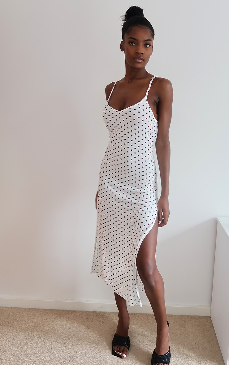 White Polka Dot Print Jersey Split Cami Midi Dress 1