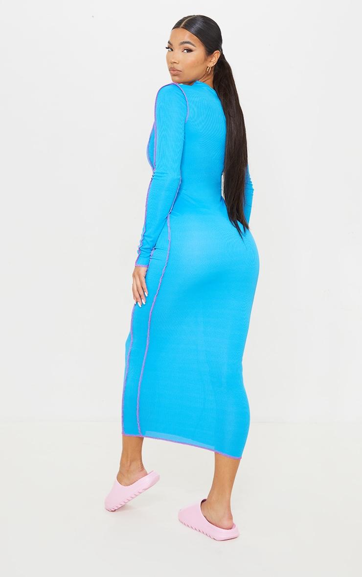 Bright Blue Rib Asymmetric Seam Detail Long Sleeve Midi Dress 2