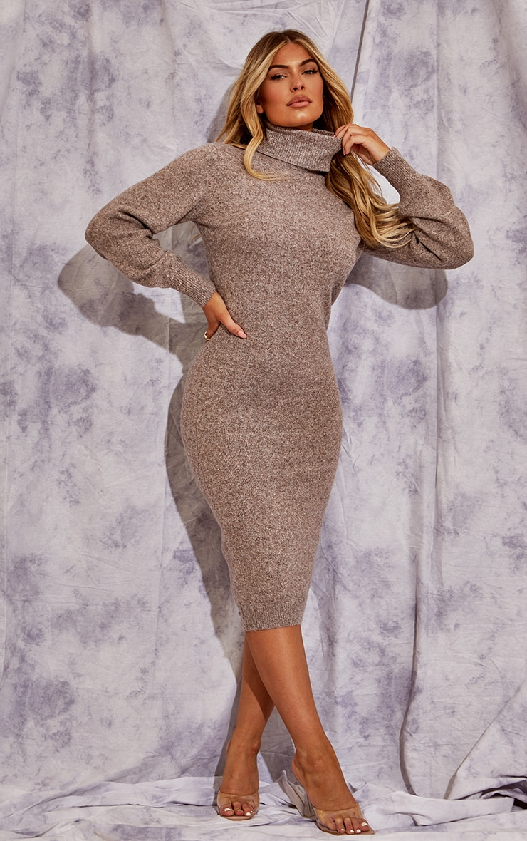 Recycled Mocha Knitted Roll Neck Midaxi Dress 1