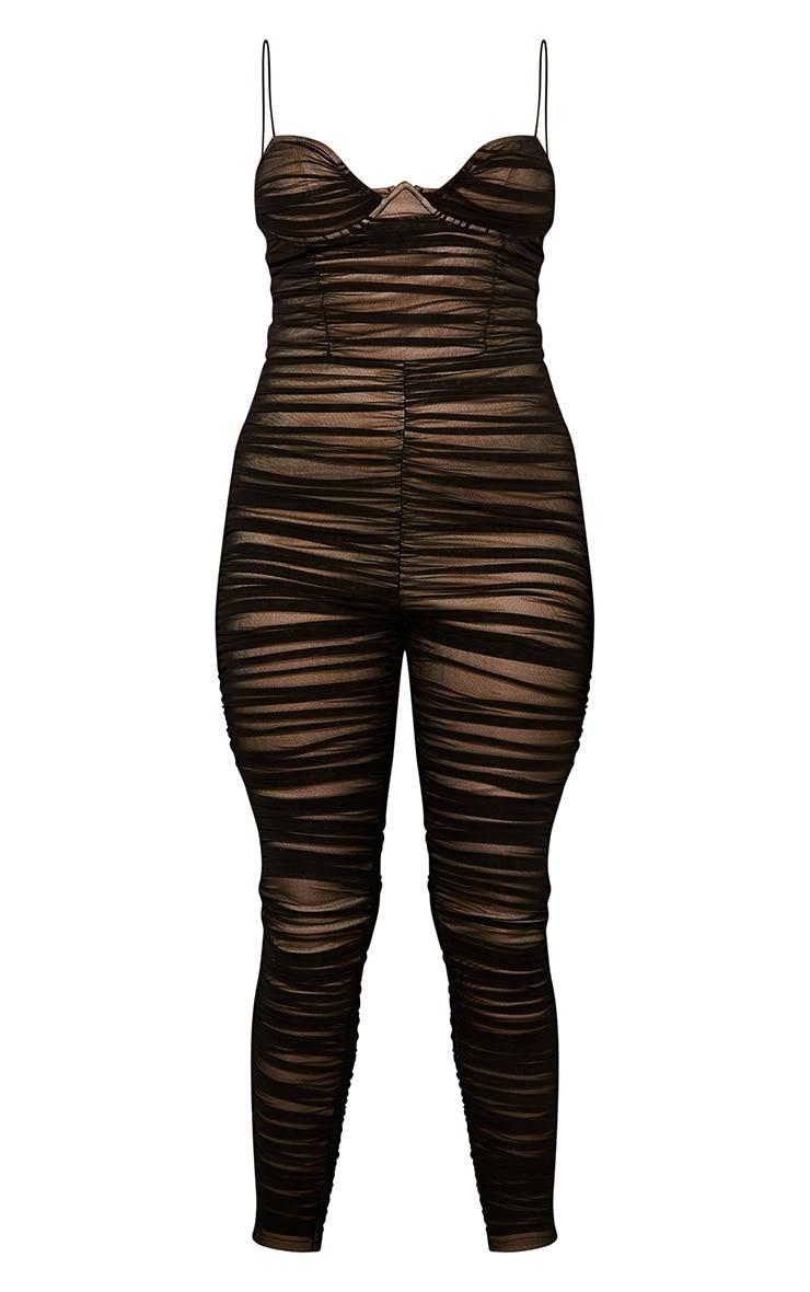 Black Ruched Mesh Underwire Jumpsuit 5